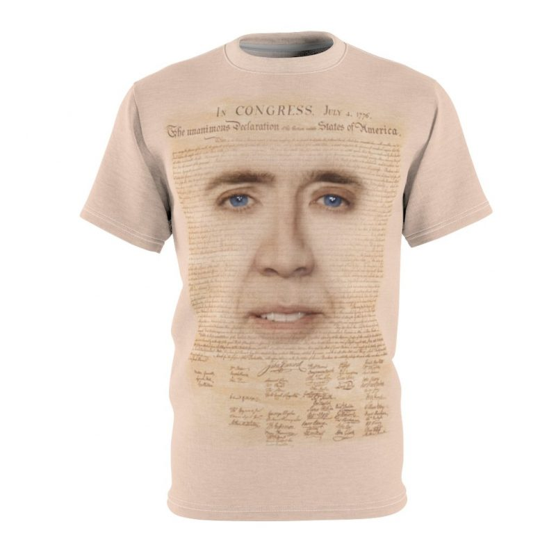 Nicolas Cage with Declaration of Independence Shirt - National Treasure T-shirt, Funny Nic Cage Face Meme Shirt, Adults Mens Shirts - meme cuisine