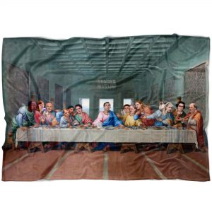 The Last Supper at Dunder Mifflin Fleece Blanket   The Office TV Show Funny Meme Throw Blanket   The Office Lover Gifts Dorm Decor