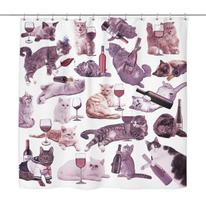 Cats with Wine Shower Curtain | Funny Unique Bathroom Dorm Decor | Cat Lover Bath Curtain, Funny Housewarming Gift