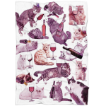Cats with Wine Fleece Blanket - Funny Unique Home Decor - Gift for cat lover - Crazy Cat Lady Gifts - Funny Purple Dorm Throw Blanket