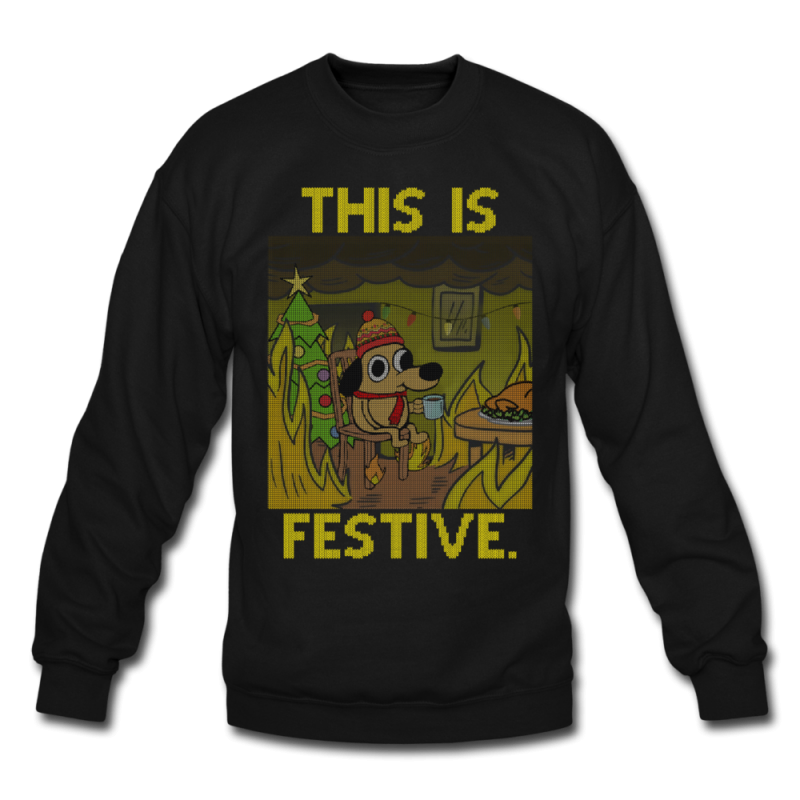 This Is Fine. Ugly Christmas Sweater - black