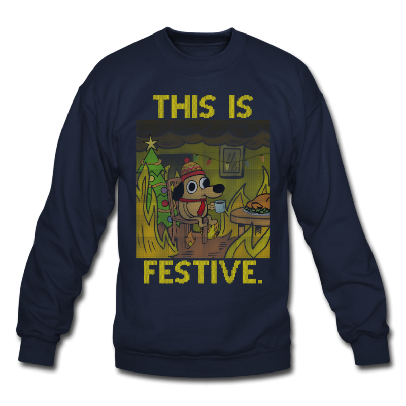 This Is Fine. Ugly Christmas Sweater - navy