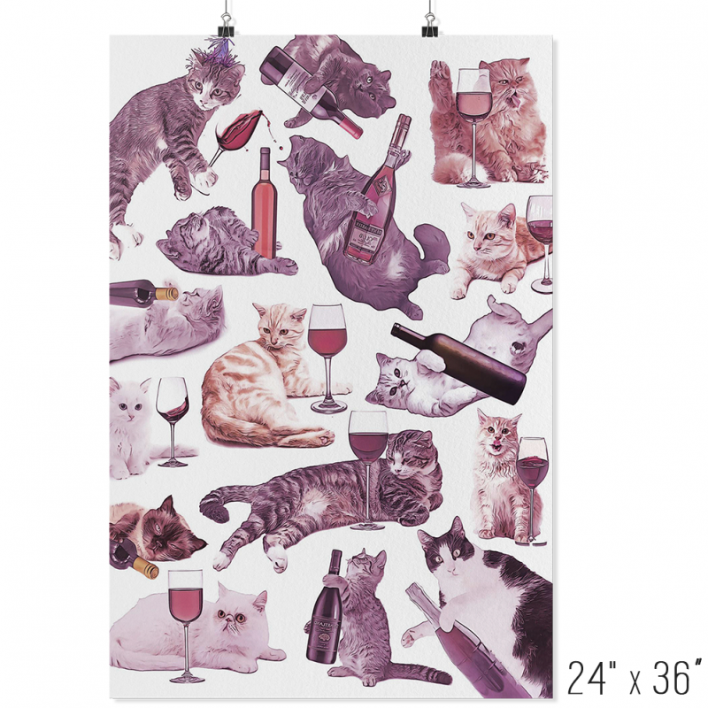 Cats with Wine Poster - Meme Cuisine - Meme Posters 2